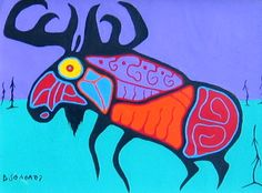 Moose by Norval Morrisseau Native Art, Native American Art, Canadian Holidays, Aboriginal Dreamtime, Cultural Crafts, Woodland Art, Indigenous Art, Summer Art, First Nations