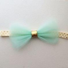 The Jasmine Headband with mint tulle bow  by ConfettiBabe on Etsy, $8.00