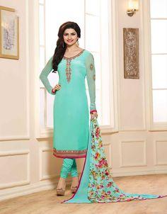Prachi desai exclusive blue royal crepe embroidery suit