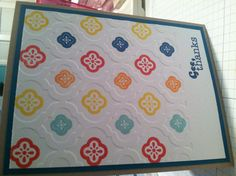 handmade card using Mosaic stamps and embossing folder ... luv the look of the brightly colored designs ... Stampin' UP!