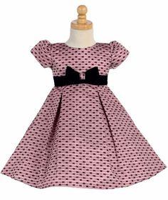 Pink Jacquard Bow Design Girls Holiday Dress w. Velvet Bow