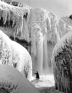 "Niagara Falls early 1900s, postcard caption ""Cave of the Winds in Winter, Niagara Falls"""