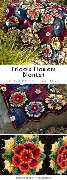Frida's Flower Blanket Free Crochet Pattern #freecrochetPatterns #crochetafghan #freecrochetPatternsforafghan #freecrochetPatternsforblanket #crochetstitch #freecrochetPatternsforthrow