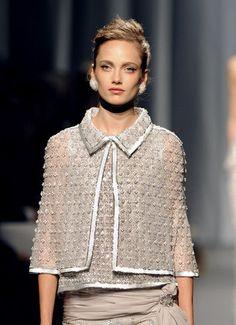 Chanel + beautifully textured grey cape jacket
