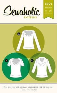 Renfrew top sewing pattern by Sewaholic Patterns. Easy knit top pattern with long sleeves, short sleeves, cowl neckline, V-neck or scoop neck tee shirt sewing pattern. Easy to sew without a serger! - without a serger? Shirts & Tops, Tee Shirts, Pull Sweat, Pdf Sewing Patterns, Shirt Patterns, Clothes Patterns, Dress Patterns, Knitting Patterns, Bag Patterns