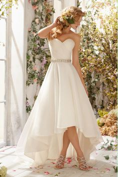 2014 Sweetheart Ruched Bodice A Line Wedding Dress With High Low Organza Skirt Beaded Waistline USD 149.99 PPPTMLPEAM - PopProm.com