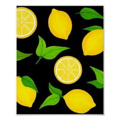 Canvas Painting Projects, Diy Painting, Green Flowers, Green Leaves, Lemon Background, Black Background Painting, Lemon Painting, Lemon Art, Aesthetic Lockscreens