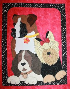 Dogs Quilted Wall Hanging | Applique Quilts - Dogs, Cats, and More