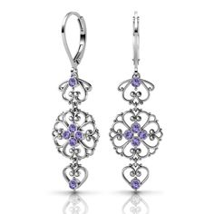 Sterling Silver Earrings by Lucia Costin Tanzanite Swarovski s