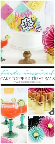 Easy DIY Fiesta Inspired Cake Toppers & Treat Bags with the Cricut Scoring Wheel  |  #ad #papercraft #partydecor #cricut #cricutmade #party