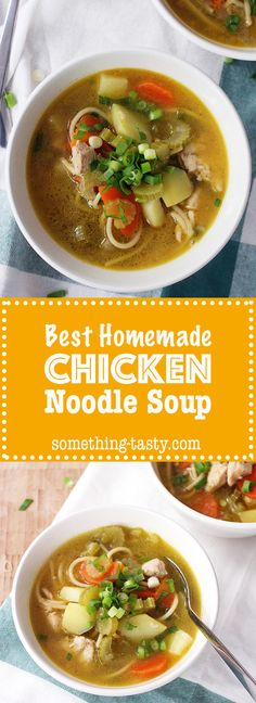 Chicken Noodle Soup - Something Tasty Chicken Noodle Soup, Healthy Dinners, Soup And Salad, Thai Red Curry, Noodles, Meal Planning, Soups, Tasty, Homemade