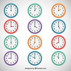 Colored clocks 2nd Grade Math Worksheets, Teacher Worksheets, Preschool Worksheets, Daily Routine Chart For Kids, Charts For Kids, Kindergarten Math Activities, Kids Learning Activities, Clock Clipart, Math Olympiad