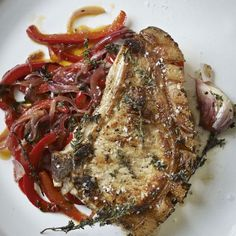 Pork chops with peppers