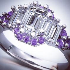 """9 Likes, 4 Comments - Sauli Hirsimaki (@saulidesignerjeweler) on Instagram: """"Purple halo! This client brought the emerald cut doff almond and baguette diamonds and wanted to…"""""""