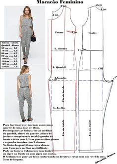 Best 12 Corte e costura – SkillOfKing. Sewing Clothes Women, Sewing Pants, Diy Clothes, Clothes For Women, Dress Sewing Patterns, Clothing Patterns, Sewing Patterns Free, Jumpsuit Pattern, Pants Pattern