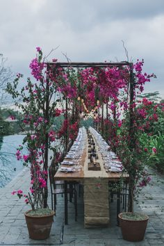 bougainvillea reception decor - photo by Jonas Peterson Garden Party Wedding, Bali Wedding, Wedding Table, Wedding Blog, Wedding Styles, Wedding Ceremony, Wedding Venues, Dream Wedding, Garden Parties