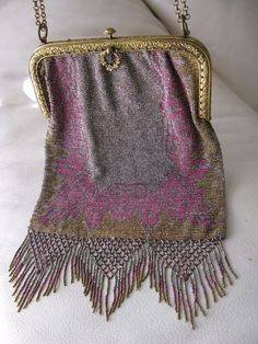 Antique Art Nouveau Deco Persian Rug Gold T Frame Pink Steel Micro Bead Purse #EveningBag