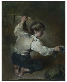 A kneeling boy with a sash, oil on board, late 18th c.  Walton, Henry, born 1746 - died 1813. Painting showing a young boy kneeling and holding a pale blue sash in his right hand; his left hand is placed against a wall. On the ground to the right is a bundle.