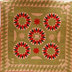 Hand-stitched Pieced Cotton Sunburst/Star Pattern Quilt | Sale Number 2620M, Lot Number 752 | Skinner Auctioneers