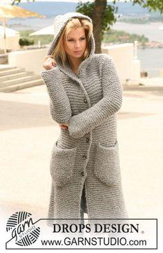 """DROPS 122-40 - Long DROPS jacket in garter st with hood in """"Eskimo"""". Size S - XXXL. - Free pattern by DROPS Design"""