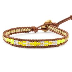 Neon Yellow Beaded Single Wrap Bracelet on Natural Brown Leather