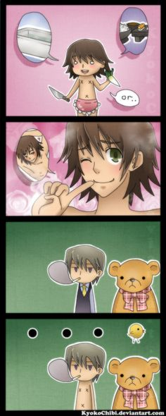 """Which do you want first, a bath? Dinner? Or...me?""  ~ (Junjou Romantica 4koma by kyokochibi.deviantart.com on @deviantART)....Usagi xD"