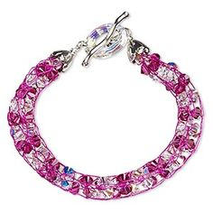 Circle of Hope bracelet, crystal, crystal AB and fuchsia, assorted size and shape, 7-1/2 inches. Only one available.