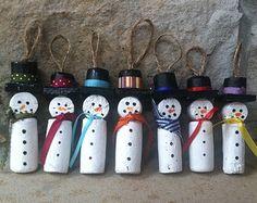 Wine Cork Snowman Christmas Ornament