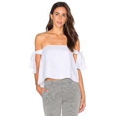 SIR the label Kobi Off The Shoulder Top (125 CAD) ❤ liked on Polyvore featuring tops, fashion tops, tie top, linen tops, off the shoulder tops and off shoulder tops