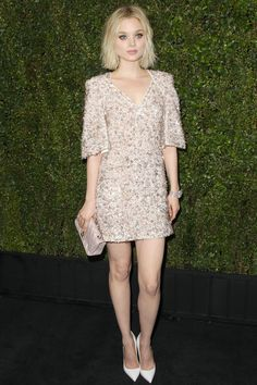 Bella Heathcote in Chanel - CHANEL AND CHARLES FINCH PRE-OSCAR DINNER 2015   - HarpersBAZAAR.com