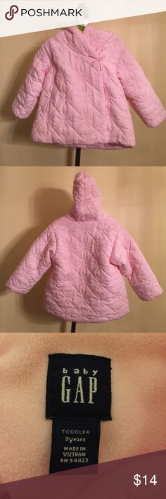 Toddler Girls Baby Gap coat size 3T. This is a toddler girls Baby Gap brand coat size 3T.  It has been gently worn and is in good shape. It zips and buttons and is pink in color. If you have any questions please let me know. Thanks! Baby Gap Jackets & Coats