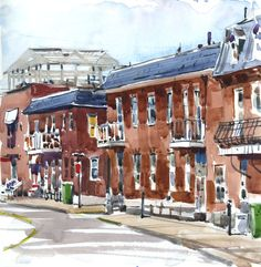In Montreal I tend to sketch a lot of brick buildings, and over the years I have experimented with many combinations of colour to achieve that reddish brown that so perfectly describes Montreal arc…