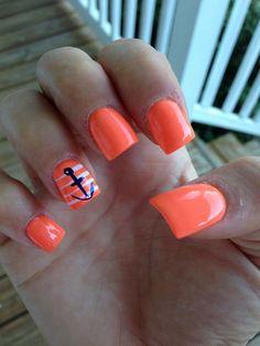 Orange nautical nails.