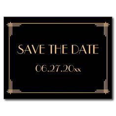 Black Art Deco Great Gatsby Save The Date Postcard | Zazzle
