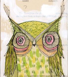 green owl print, go lightly...archival and limited edition, 5 x 10 inch wall art, by cori dantini.