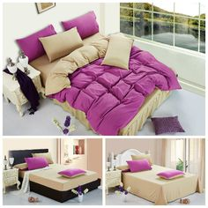 Home textile,solid color fashion bedding sets 4pcs bedclothes king size/queen/twin size cotton comforter bedding set drop ship $93.99 - 98.99