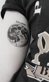 Full Moon Tattoo On Upper Arm
