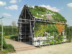 """Edible house - """"eat house"""" - great idea using crates with holes to make the walls of the house"""