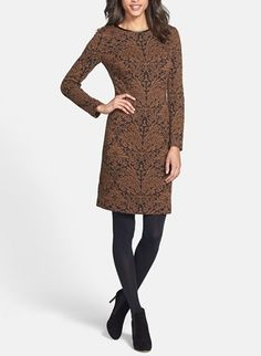 This Vince Camuto long sleeved jacquard sheath dress is breathtaking.