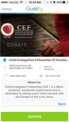 Child Evangelism Fellowship of Greater Washington, DC #GivelifyNonprofits