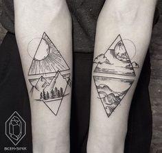Tattoos geometric earth tattoo, geometric mountain tattoo, geometric tattoo l Black Tattoos, New Tattoos, Body Art Tattoos, Tattoos For Guys, Tatoos, Verse Tattoos, Trendy Tattoos, Small Tattoos, Element Tattoo