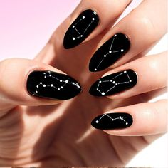 The Major Nail Trend You Haven't Seen Yet Stars have been a huge trend recently and now trends are getting more cosmic with the new constellation nail designs. Why just read your horoscope when you can wear your sign too? Crazy Nail Art, Crazy Nails, Black Nail Designs, Nail Art Designs, Nails Design, Design Art, Accent Nail Designs, Crazy Nail Designs, Design Ideas