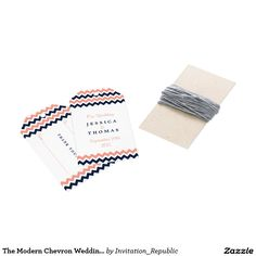 The Modern Chevron Wedding Collection- Pink & Navy Pack Of Gift Tags