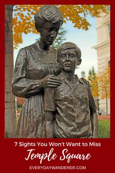 Visit Salt Lake City's Temple Square where statues like this mother and son adorn the beautifully maintained grounds #visitslc #templesquare #utah #statue