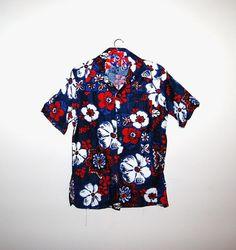 Patriotic Hawaiian Shirt by CheekyVintageCloset on Etsy, $14.50