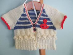 Baby girl top  nautical inspired baby cardigan by WilverlyWoollens