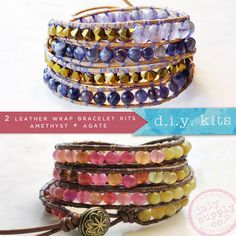 2 diy kits: leather wrap bracelets with agate beads, amethyst beads, supplies & tutorial instructions