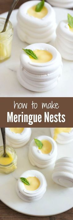 Soft and crunchy meringue nests that will melt in your mouth. Make them large or mini, and fill them with anything you want. | prettysimplesweet...