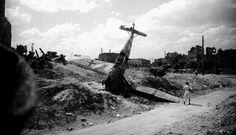Wreckage of a German Messerschmitt Bf-109 fighter, Stalingrad, the photograph was taken in the summer of 1943.