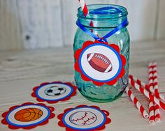 Sports Favor Gift Hanging Tags Sports #sports #birthday #party